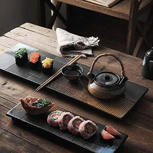 NBXLHAO Platos rectangulares para Sushi Platos para Sashimi Platos fríos Platos Planos Platos de cerámica de Estilo japonés Restaurante Retro Plato Largo Plato para el hogar Plato,41X2.5X13CM