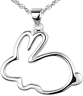 925 Sterling Silver Bunny Pendants Necklaces for Women,Girls