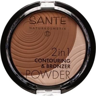 SANTE 2in1 Contouring & Bronzer en Poudre - Tonalitè 02 - Pour des traits parfaitement mis en valeur et un teint hâlé - Fini naturel - Facile à estomper - Doux - Vegan