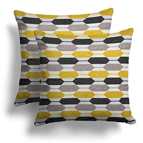 Set of 2 Ochre Grey Geometric Chenille Cushion Covers, Pair of Stockholm Abstract Cushion Covers, Luxury Co-ordinating Cushion Cases, Luxury Sofa Chair Bed Throw Pillow Cases, 18' x 18', 43cm x 43cm