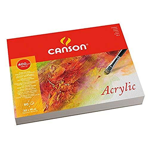 Canson Acrylic - Bloc papel de dibujo, 32 x 41cm, color blanco natural