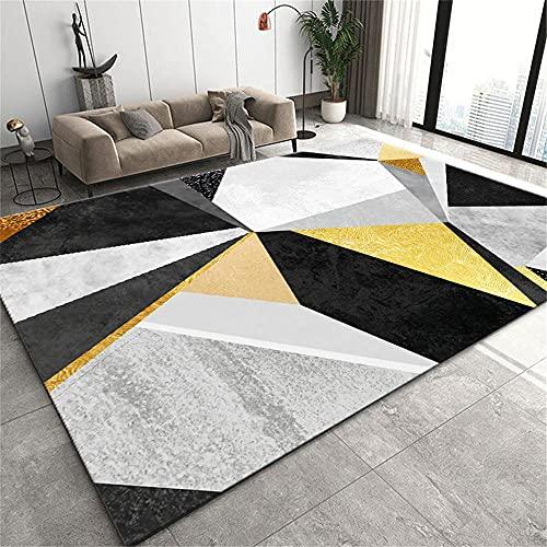 alfombras de Salon Grandes Alfombra de Dormitorio Gris Negro geométrico Moderno Antideslizante...