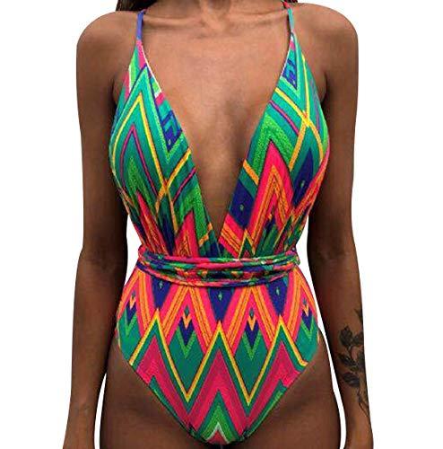 Bañador Halter Escote V Bandeau Traje de Baño Mujer Bañadores Una Pieza Mujer Playa Natacion Bikinis de Flores con Relleno Monokini Bikini Push Up Señora Trajes de Baño Enteros Piscina Biquini 2XL