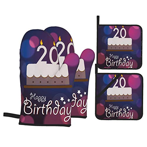 Alvaradod Oven Mitts and Pot Holders Sets of 4,Purple Twenty Birthday Cake Print,Polyester BBQ Gloves with Quilted Liner Resistant Hot Pads for Kitchen Cooking Baking Grilling
