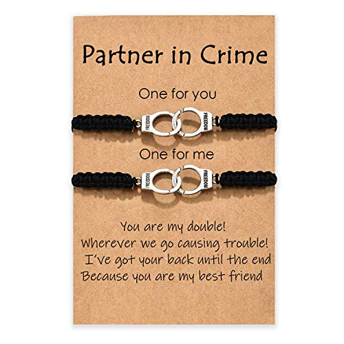 MANVEN Partners in Crime Bracelets for 2 Guy and Girl Best Friend Handcuff Matching Friendship Bracelet for Women Men Girls Couple Soul Sister Bestie