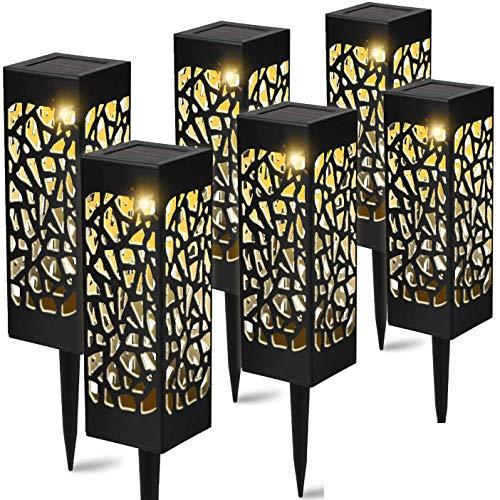 SNSN 6 Paquete Luces de césped Solar al Aire Libre, Luces de jardín Luces LED, estacas Decorativas, iluminación Impermeable de Paisaje LED para Pasarela Patio Patio Patio Currilly