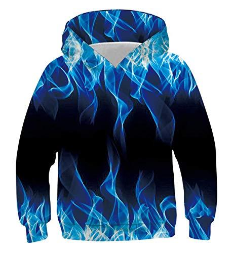 Belovecol Neuheit 3D Kapuzenpullover Blue Fire Hoodie Casual Langarm Pullover Jungen Mädchen Personalisierte Kapuzenpulli für Kinder Teens