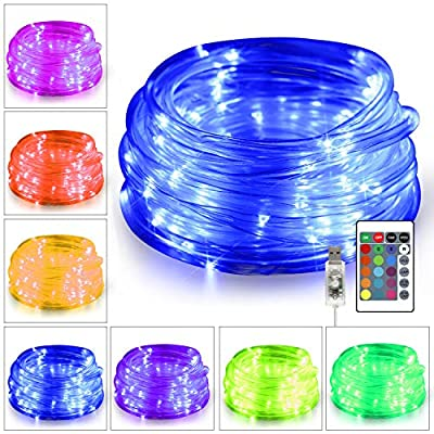 KNONEW 100 LED Rope Lights 32.8ft 16 Colors Changing Lights with Remote, USB Powered Rope Tube Fairy Light Indoor Decorative Lighting for Wedding Christmas Party Waterproof Outdoor Decorations