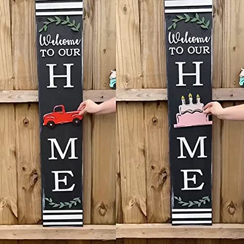KEXIMIXUE Front Door Listing, Dwarf Front Door Listing Is Equipped with 12 Replacement Wooden Plaques To Decorate Your Home and Beautify Your Garden