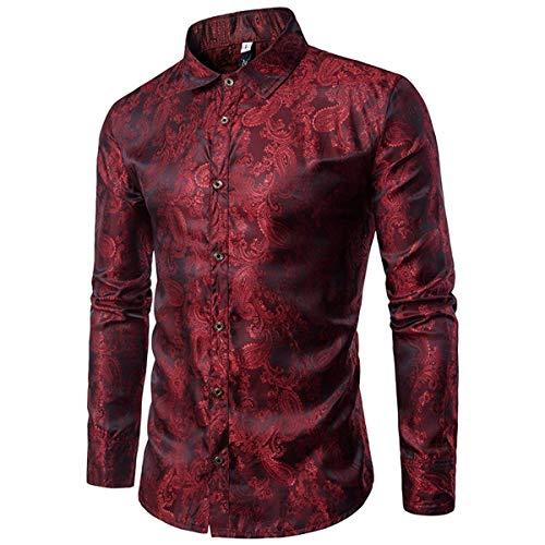 Mens Paisley Shirt Long Sleeve Dress Shirt Button Down Casual Slim Fit,Red,Medium