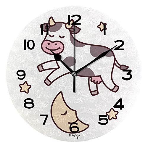 ALUONI Round Wall Clock Cow Jumping Over Moon Illustration 10 inch Morden Wall Clocks Silent Round Decorative Clock IS063232