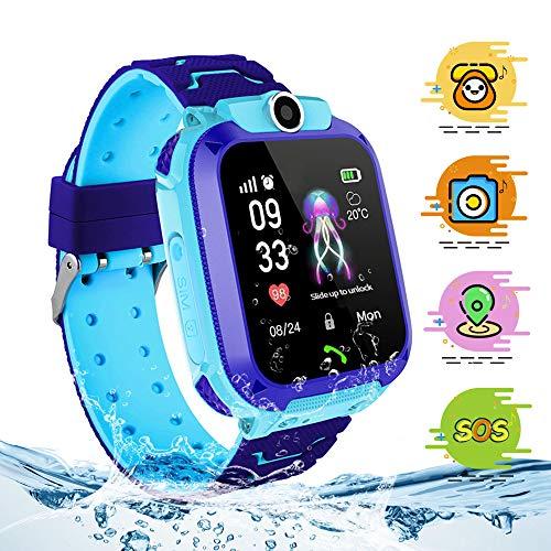 themoemoe Kids Smartwatch, Kids Smartwatch with GPS Tracker Waterproof Phone Smart Watch 1.44 Games SOS Alarm Clock Camera (Blue)