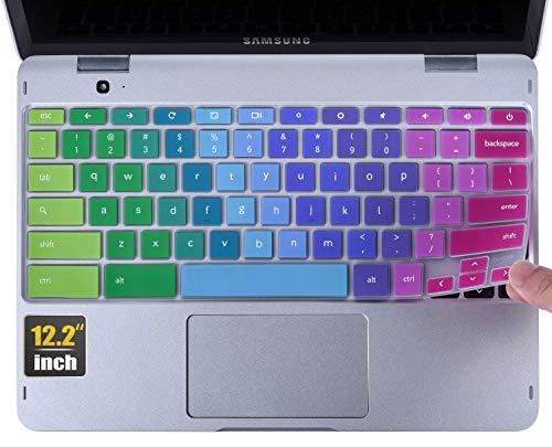 CaseBuy Keyboard Cover for 2021 Samsung Chromebook Plus V2 2 in 1 12.2 inch/Samsung Chromebook Plus V2 12.2 XE520QAB-K01US XE520QAB-K03US XE521QAB-K01US Chromebook Protective Skin, Rainbow