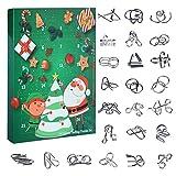 Oeasy 24Pcs Calendarios de adviento Rompecabezas Metal, 3D Rompecabezas de Alambre de Metal Metal de Rompecabezas Educativos Regalo per Adultos Niños