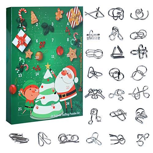 Myste 24 Pièces Casse-tête en Métal, 3D Métal Puzzles Brain Teaser Puzzle Classique IQ Test Jouet Intelligence Calendrier de lavent Cadeau de Noël pour Enfants Adultes