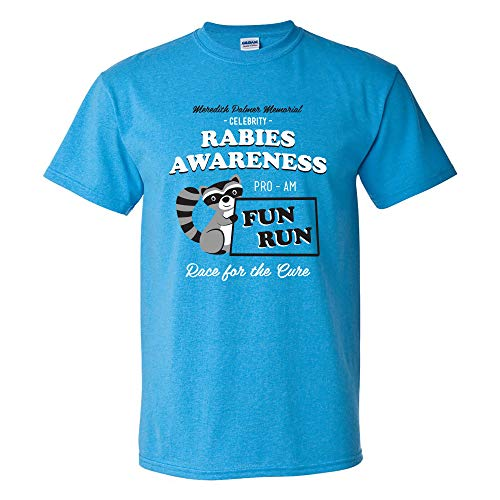 Rabies Awareness Fun Run - Funny TV Comedy Running T Shirt - X-Large - Heather Sapphire