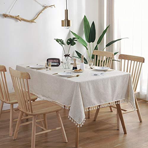 meioro Volltonfarbe Quaste Tischdecke Rechteckige Tischdecke Baumwolle Leinen Tischdecke Geeignet für Home Küche Dekoration, Verschiedene Größen