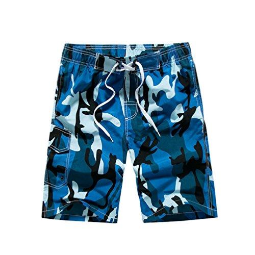 YoungSoul Herren Camouflage Badehose/Surfer Boardshorts/Beachshorts Badeshorts Sommer Strand/Knielang Blau EU M/Etikette L