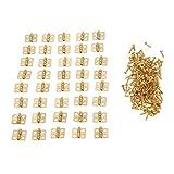 ZXCVB 40 Piezas 13 * 12mm bisagras de Puerta de cajón de gabinete 4 Agujeros Cajas de joyería bisagras Decorativas herrajes para Muebles (Color : Gold)