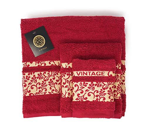 Cabello Textil Hogar - Juego de Toallas 100% Algodón de 450 Gr/m2 - Vintage - 3 Piezas: Sábana de baño (100x150 cm) - Tocador (50x100 cm) - Bidet (30x50 cm) (Burdeos)