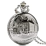 Accurate Pocket Watch Silver Truck Car Pocket Watch Antique Style Necklace Pendant Steampunk Vintage Gift for Men LATT
