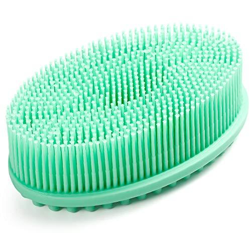 100% Silicone Bath & Shower Loofah Brush For Face & Body Gentel Scrub Skin Exfoliation-Skin Health Beauty Care-Cellulite Treatment-Massaging Brush Long Bristle(Green)