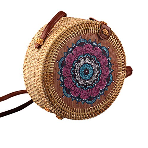 jfhrfged Women Handmade Rattan Woven Bag Round Diagonal Package, d