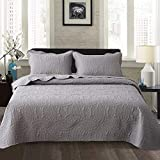 Travan Bedspread Quilt Set 3-Piece Oversized Quilted Coverlet Set with Shams, Grey Embossed, King