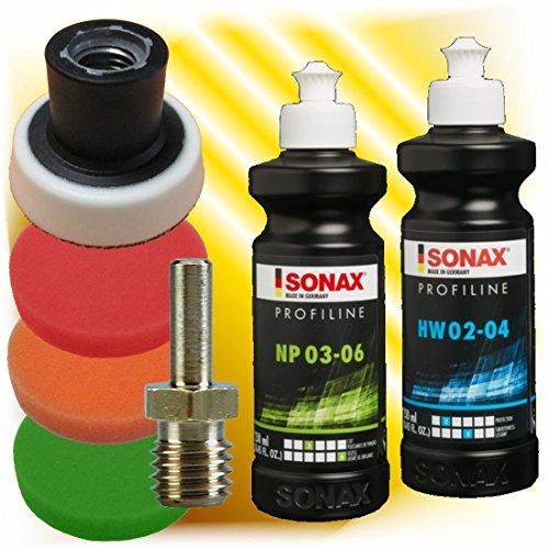 Sonax Profiline Politur Hartwachs + 3 x Polierschwamm 50 mm +Teller + Dorn