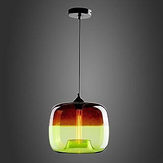 EasyGame - Lámpara de techo de cristal soplado a mano, única y contemporánea, color azul claro, con accesorios de iluminación, 25 cm (gris claro y verde)