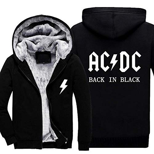 FAIBOO Herren Hoodie ACDC Print Sportswear Stitching Langarm Winter Cardigan Kapuze Dickes Warm Sweatshirt Teen Geschenk D-XXL