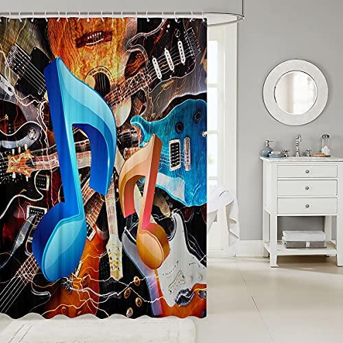 Loussiesd Musical Note Duschvorhang 180x200cm Gitarre Duschvorhang Textil Für Kinder Jungen Mädchen Rockmusik Thementuch Stoff Badezimmer Dekor Party Dekor Gitarre Instrumente Wasserdicht mit Haken