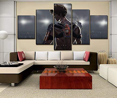 WARMBERL Leinwanddrucke Leinwand Hd-Drucke Bilder Wandkunst Für Wohnzimmer Home Dekorative Kunstwerk Poster 5 Stück Anime Megalo Box Gemälde Rahmen Drucke Auf Leinwand