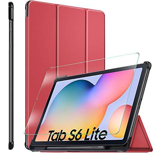 ELTD Funda + Película templada [combinación] para Samsung Galaxy Tab S6 Lite, Fundas Duras Case + Vidrio Templado Glass Film para Samsung Galaxy Tab S6 Lite 10.4 Tableta,(Rojo+1 Pack)