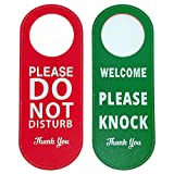 2 Pack Do Not Disturb Door Hanger Sign, PU Leather Double Sided Welcome Please Knock Sign, Please Do Not Disturb Sign for Office Home Clinic Dorm Hotel Online Class and Meeting Session (Red+Green)