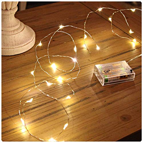 GVTECH Led String Lights 100 LEDs 33ft/10m Decorative Starry Fairy Light Battery Powered String Lights, Copper Wire Waterproof Light for Bedroom, Wedding Party Home Christmas Decoration (Warm White)