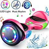 TOMOLOO Hoverboard UL2272 Certified Self-Balancing Scooter 6.5' Wheel Hoverboards with RGB Colorful Lights Bluetooth Speaker (Pink)
