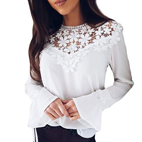 Damen Elegant Bluse Chiffon Bluse Rundhals Spitzenbluse Lace Bluse mit Trompetenärmel Damen Schöne Floraler Blusen Frauen Langarm T-Shirt Spitze OL Hemdbluse (White, S)