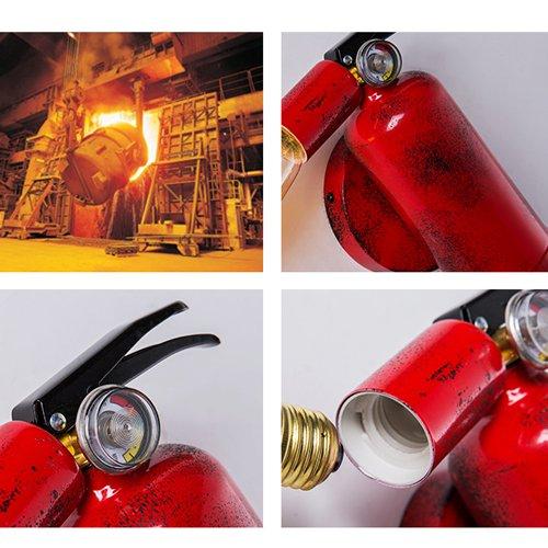 Modeen Red Fire Extinguisher Creative Wall Lamp Retro Industry Iron Wall Light Modern Bar Restaurant Aisle Wall Lamp Indoor E27 Wall Sconce