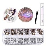DIY Nail Art Crystal Gems,Diamantes de imitación redondos planos con purpurina 3D para decoraciones de arte uñas Manualidades DIY, con pinzas de recogida y bolígrafo diamantes imitación (set-5)