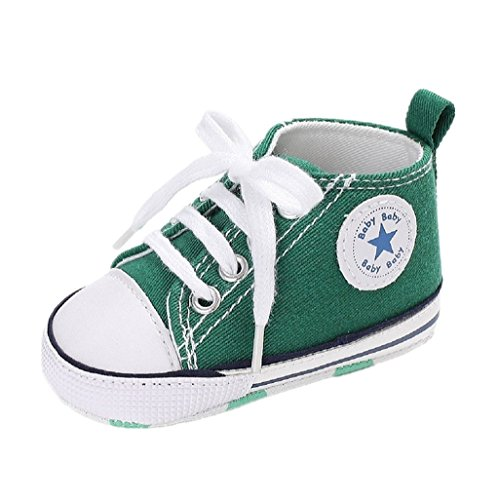 Auxma Babyschuhe Baby Schuhe Sneakers aus Leinwand mit weichen und rutschfesten Sohle Für 3-6 6-12 12-18 Monat (6-12 M, Grün)