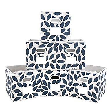 MAXhouser Fabric Storage Bins Cubes Baskets Containers with Dual Plastic Handles for Home Closet Bedroom Drawers Organizers, Flodable, Blue, Set of 6