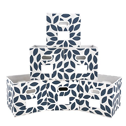 MAX Houser Fabric Storage Bins Cubes Baskets Containers with Dual Plastic Handles for Home Closet Bedroom Drawers Organizers, Foldable, Set of 6 (Blue)
