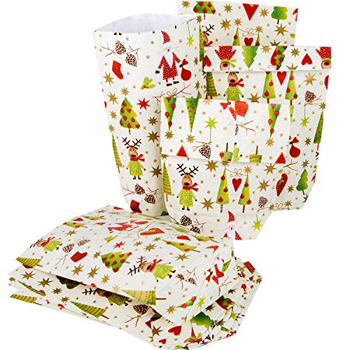 Logbuch-Verlag 25 kleine Papiertüten weihnachtliche Verpackung Weihnachtstüte SANTA Nikolaus ROT GRÜN 16,5 x 26 x 6,5 cm Weihnachtspapier Kunden