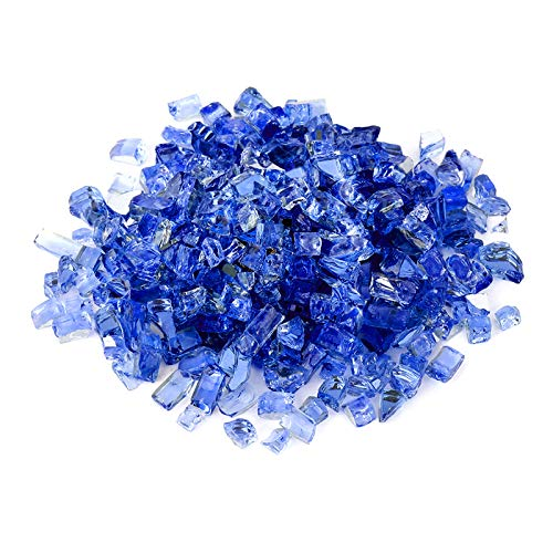 Onlyfire 10-Pounds Regular Fire Glass for Natural or Propane Fire Pit Fireplace & Landscaping, 1/2-Inch High Luster Cobalt Blue