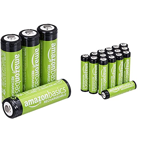 Amazon Basics AA-Batterien, wiederaufladbar, vorgeladen, 4 Stück (Aussehen kann variieren) & AAA-Batterien, 800 mAh, wiederaufladbar, 16 Stück