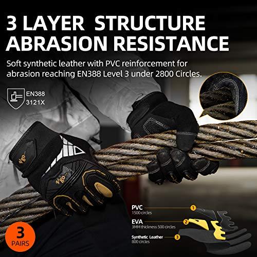Vgo 3 Paires Gants de Travail Professionnel, de Bonne résistance mécanique et de Haute dextérité (10/XL,Noire+Or, SL8849P3)