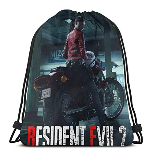 WH-CLA Drawstring Backpack Resident Evil 2 Remake - Claire Ligero Cumpleaños Gym Bag Sackpack Durable Travel Cinch Bags Print Mochila con Cordón Al Aire Libre Deporte Fitness Anime Girl U