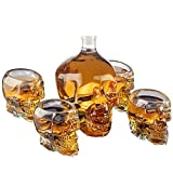 Große Skull Face Dekanter mit 4 Totenkopf-Schnapsgläsern - Mit dem Totenkopf-Becher für einen Whisky, 750 ml Dekanter 300 ml Vodka-Schnapsglas