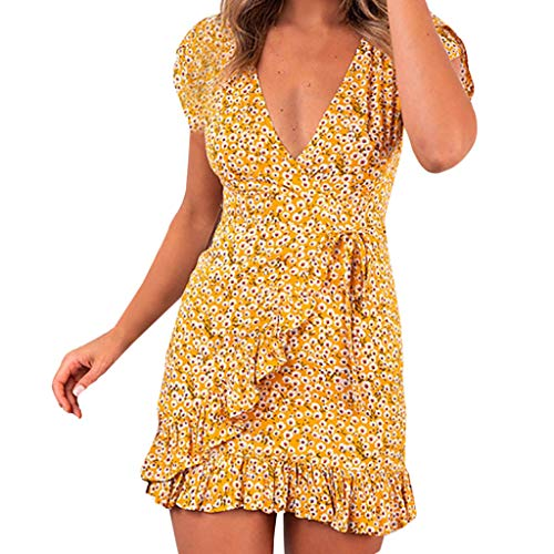 Mlide Women's Summer Casual Dresses Short Sleeve V Neck Button Zip Mini Dress BohoPrinting Dress,Yellow XXL